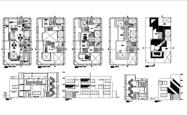Multi-story residential house detailed architecture project dwg file