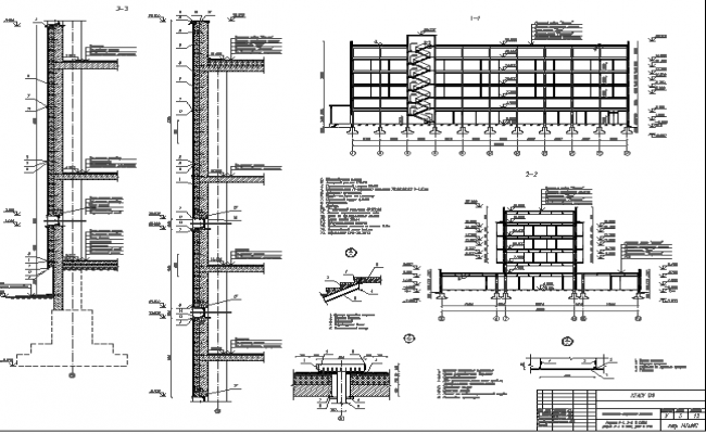 Multi-story shopping mall sections with column construction dwg file