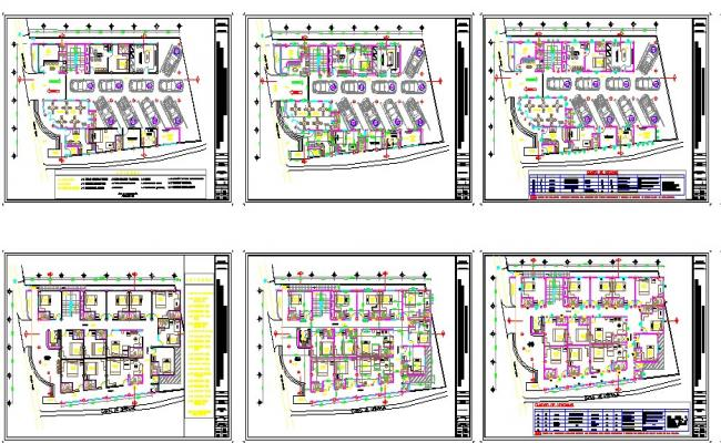 Multi-story tourist hotel building floor plan cad drawing details dwg file