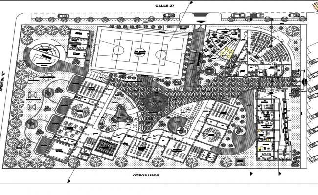 Multi-study college landscaping with structural layout plan details dwg file