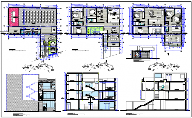 Multifamily Residence Plan dwg file.