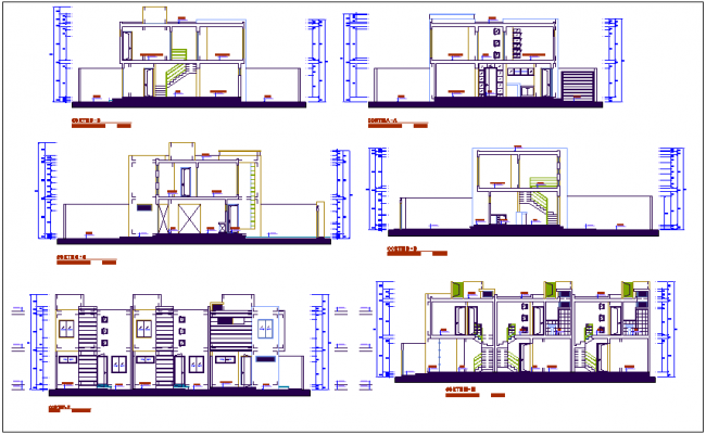 Multifamily building section view dwg file