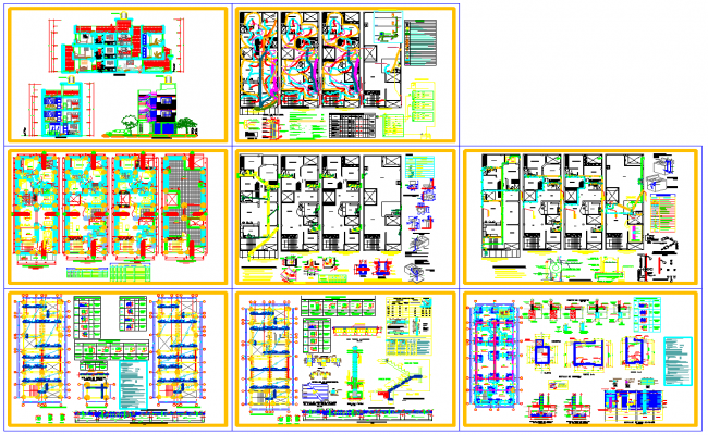 Multifamily house architecture detail and design in autocad dwg files