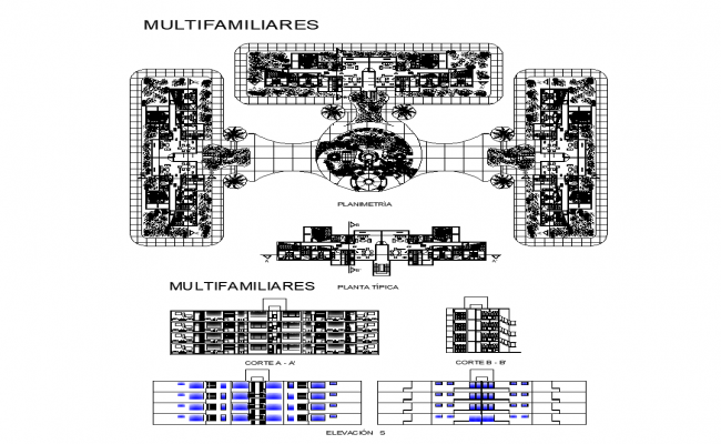 Multifamily housing building structure detail elevation, section and plan layout file