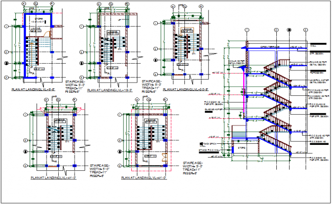 Multilevel stair case view with floor view and construction detail dwg file