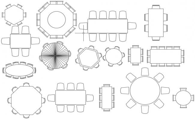 Multiple Conference Table and Chair Units Design Elevation AutoCAD Block
