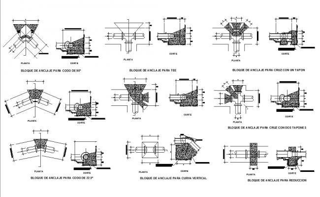 Multiple anchor blocks for tee with plug cad drawing details dwg file
