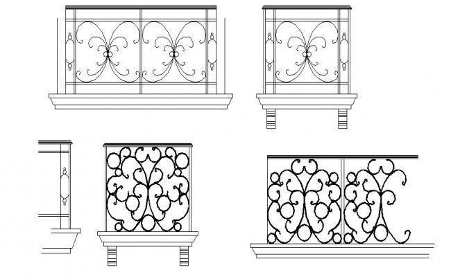 Multiple balcony railing elevation blocks details dwg file