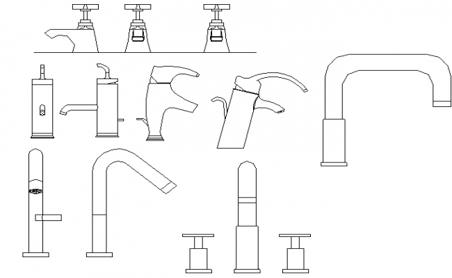 Multiple bathroom taps design block details dwg file