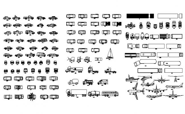Multiple cars and vehicle 2d blocks cad drawing details dwg file
