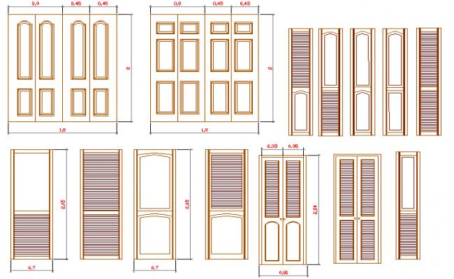 Multiple common door designs project dwg file