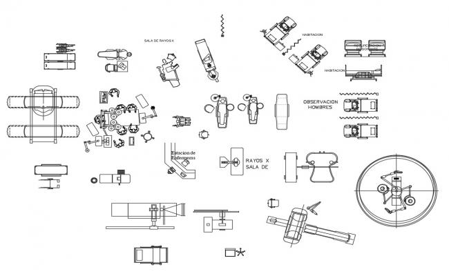 Multiple common medical equipment and furniture blocks cad drawing details dwg file
