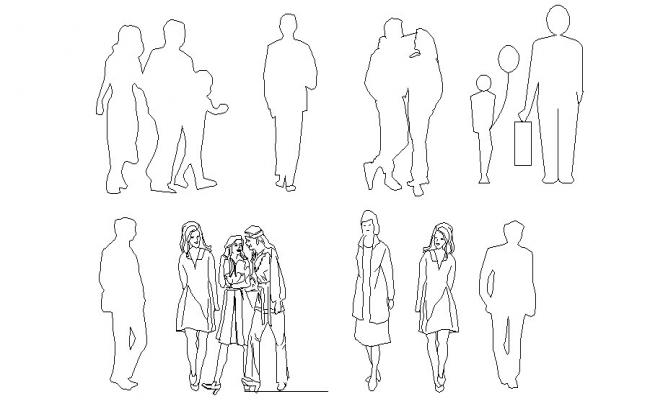 Multiple common people blocks cad drawing details dwg file
