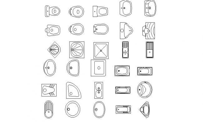 Multiple creative sanitary blocks cad drawing details dwg file