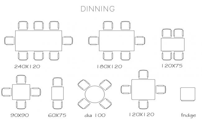 Multiple dining area dining table blocks cad drawing details dwg file
