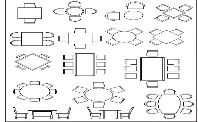 Multiple dining table design cad blocks details dwg file