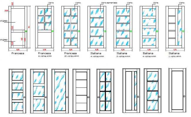 Multiple door design of building dwg file