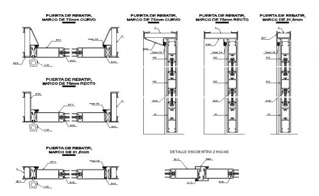 Multiple door frames and installation cad drawing details dwg file