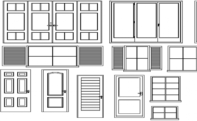 Multiple doors and windows blocks design dwg file