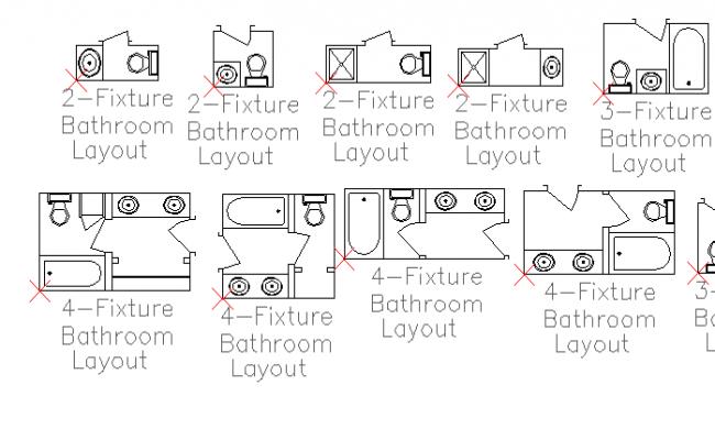 Multiple fixture bathroom layout design details dwg file