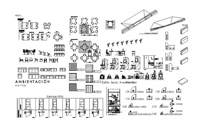 Multiple furniture and household blocks cad drawing details dwg file