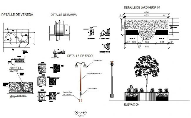 Multiple garden furniture cad drawing details dwg file
