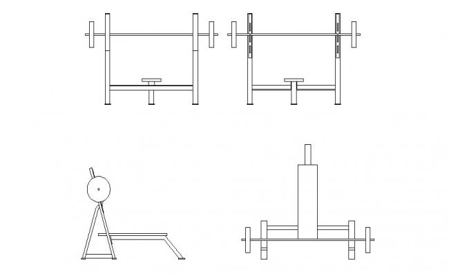 Multiple gym equipment elevation blocks cad drawing details dwg file