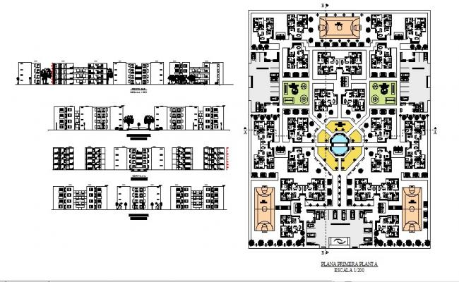 Multiple housing building all sided elevation and first floor distribution plan details dwg file