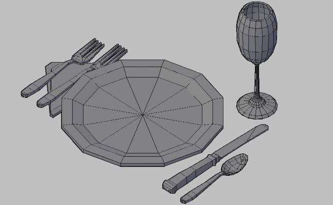 Multiple kitchen crockery blocks 3d drawing details dwg file