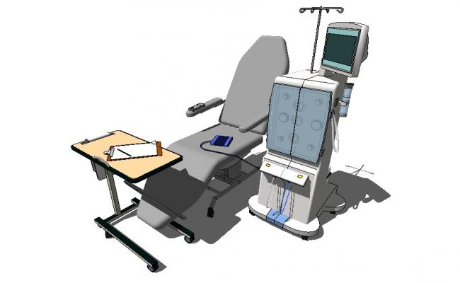 Multiple medical equipment and furniture 3d blocks cad drawing details