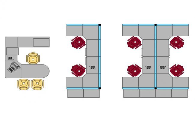 Multiple office desks 3d elevation blocks cad drawing details dwg file