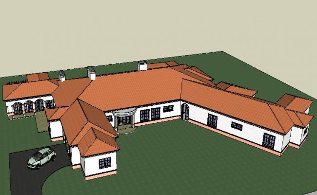 Multiple residential houses model 3d drawing details skp file