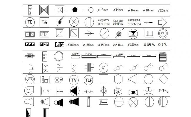 Multiple sing-symbols and logo blocks cad drawing details dwg file