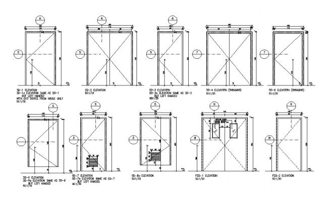 Multiple single and double doors elevation blocks cad drawing details dwg file