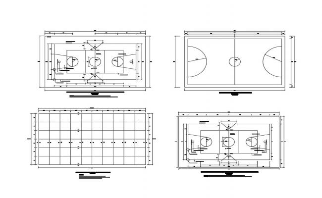 Multiple sports ground pitch plan cad drawing details dwg file