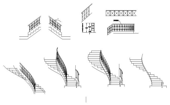 Multiple staircase and railing blocks cad drawing details dwg file