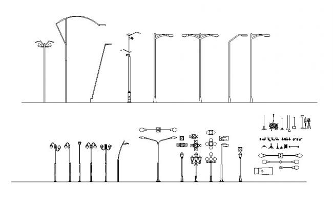 Multiple street light poles and light lamps blocks cad drawing details dwg file