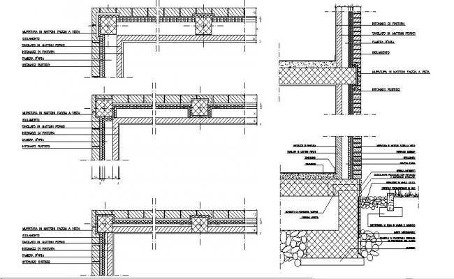 Multiple wall construction details of building dwg file