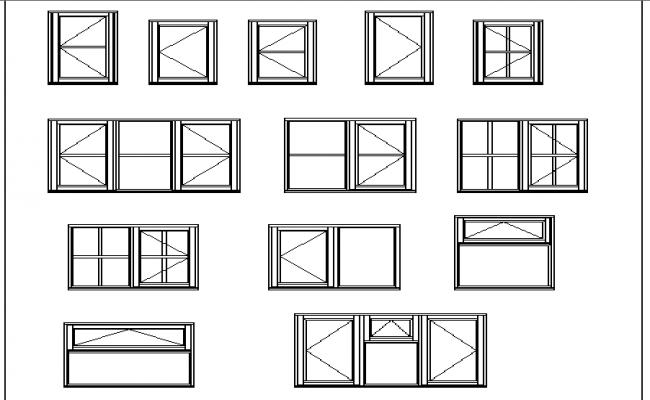 Multiple windows design cad blocks details dwg file