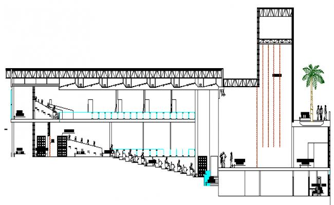 Multiplex theater architecture design and elevation dwg file for Architecture and design home theater