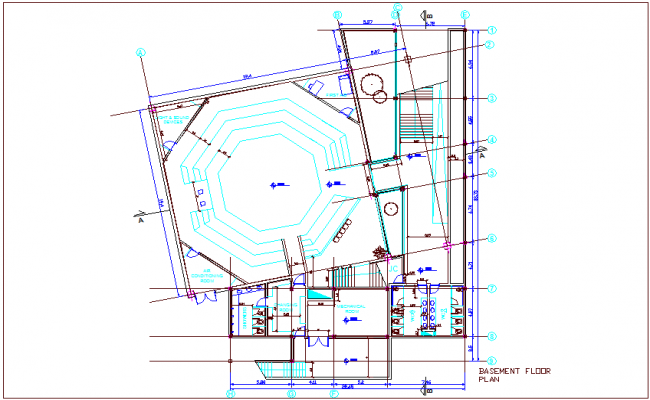 Multipurpose basement floor plan view for turkey dwg file