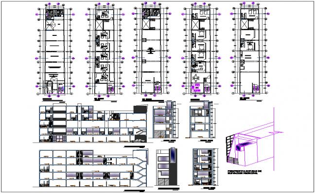 Multipurpose building plan detail view dwg file