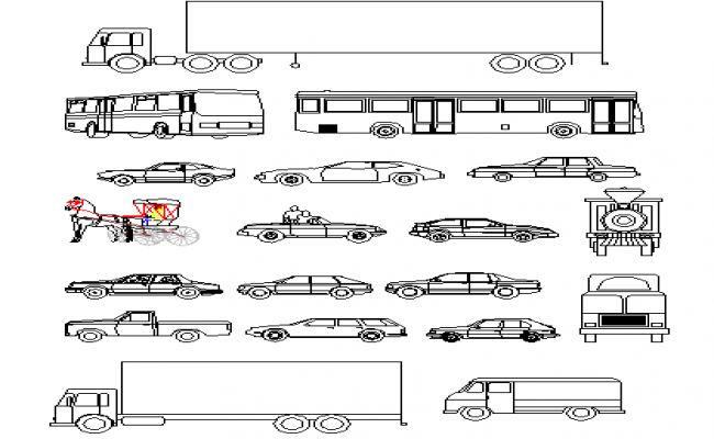 Multipurpose common vehicle blocks design details dwg file