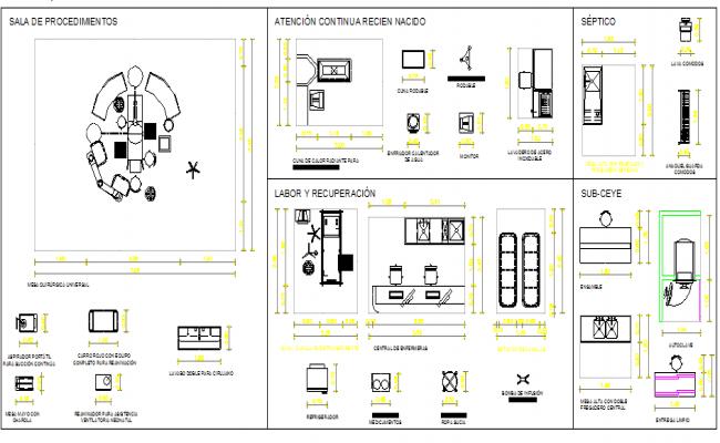 Multipurpose hospital equipment blocks design dwg file