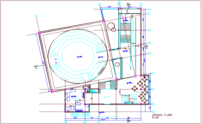 Multipurpose room for ground floor dwg file