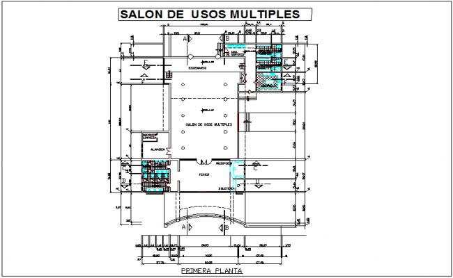 Multipurpose use room plan dwg file