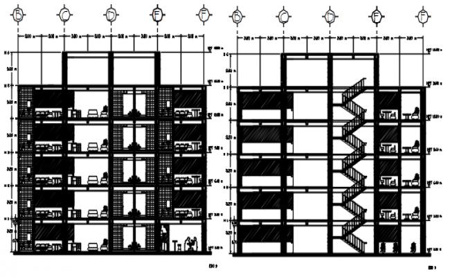 Multi Storey Building Design In DWG File
