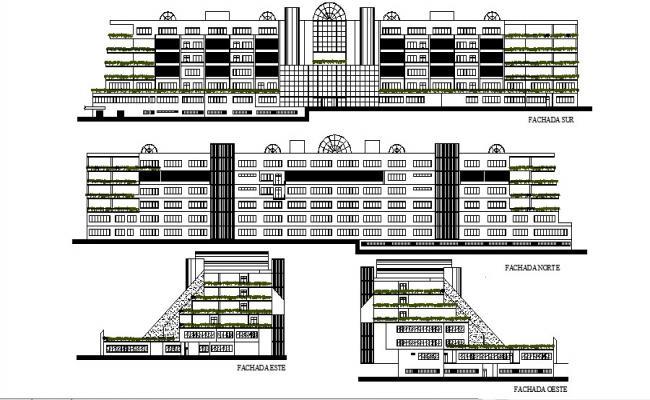 Multistorey Building Design Elevation In DWG File
