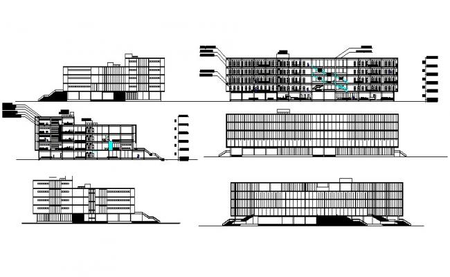Multistorey building with different elevation in dwg file