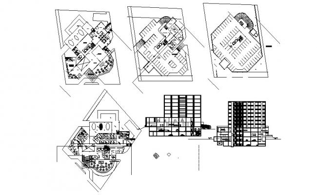 Multi Storey Building Different Section In DWG File